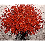 YEESAM ART New Release Paint by Number Kits for Adults Kids - Love Tree 16x20 inch Linen Canvas (With Frame)