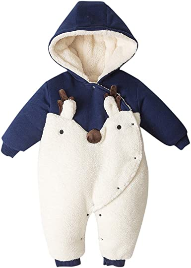 Boys Girls Hooded Romper Long Sleeve Overalls Winter Jumpsuit 0-24 Months Baby Snowsuit
