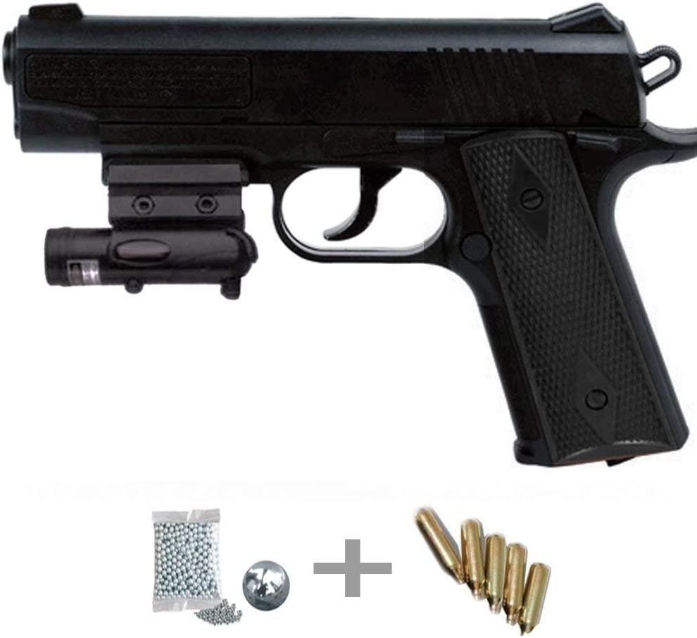 1911 Láser Kit Crosman Pistola de Aire comprimido (CO2) y balines de Acero (perdigones BBS) Calibre 4.5mm. Réplica + Accesorios <3,5J