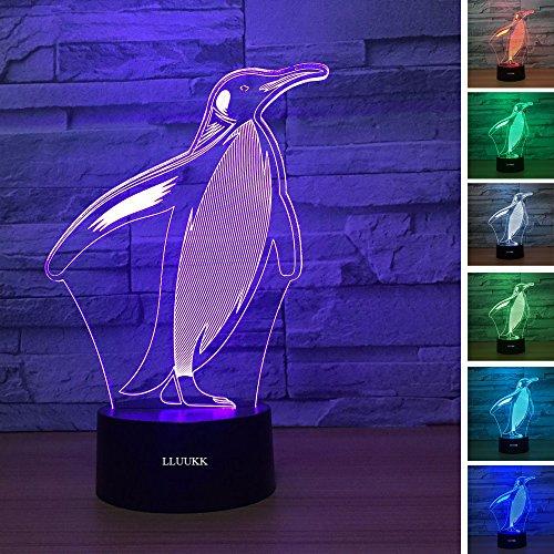 LLUUKK Visual 3D Night Light Lamp Penguin Toys Desk Lamp Table Decoration Household Accessories Kids Gift Boys Festival for Animal Lovers