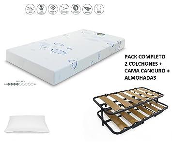HABITMOBEL Pack 2 Colchones Visco 200 x 90 cm + Cama Canguro + Almohadas Fibra: Amazon.es: Hogar