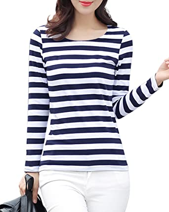 Achenaggg Gootuch Blue and White Striped Women Fashion Sailor s Striped  Shirt Leisure Long Sleeve Rayon Casual 8250a0ec8646