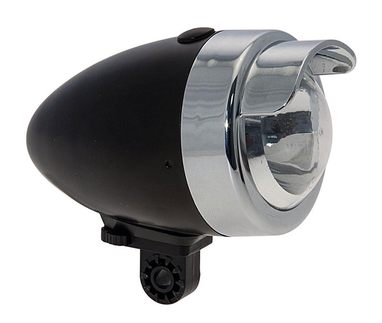 Onogal 3875n /Éclairage avant LED pour v/élo fabriqu/é en m/étal 3/fonctions Style vintage Noir Spot Lumi/ère LED Avant m/étallique couleur Noir Vintage 3/fonctions v/élo 3875/N