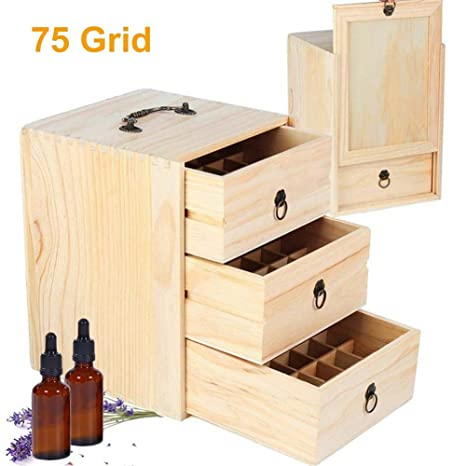 Caja de madera para aceites esenciales de 75 botellas ...