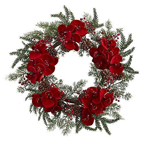 Nearly Natural Orchid, Berry & Pine Holiday Wreath, 22