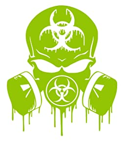 UR Impressions LGrn Skull Dripping Biohazard Respirator Decal Vinyl Sticker Graphics for Cars Trucks SUV Vans Walls Windows Laptop|Lime Green|5.5 X 5 inch|URI349-LG