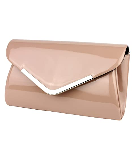 07e1ffdb29 Schompi Borsa Pochette Elegante Per Donna, Vernice Con Tracolla Di Catena  Staccabile, Colore:
