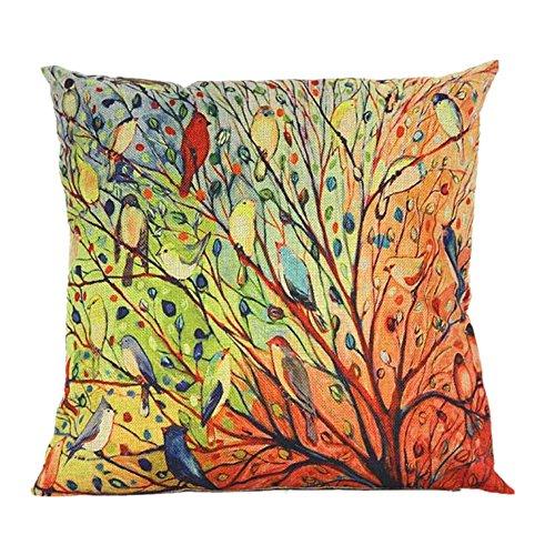 Clearance Tree Flower Floral Print Cotton Sofa Pillowcase Cushion Cover Sofa Bed Home Decor 40cm x 40cm ()