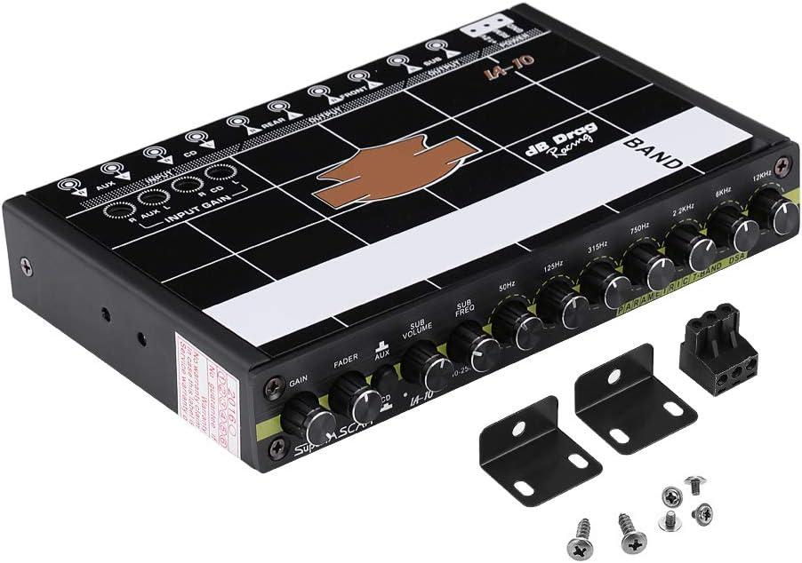 DEWIN Car Equalizer - Equalizer Car Audio Car Audio Graphic Equalizer EQ 7s Car Audio Stereo Tuner W/ 3.5mm Aux-in Knob