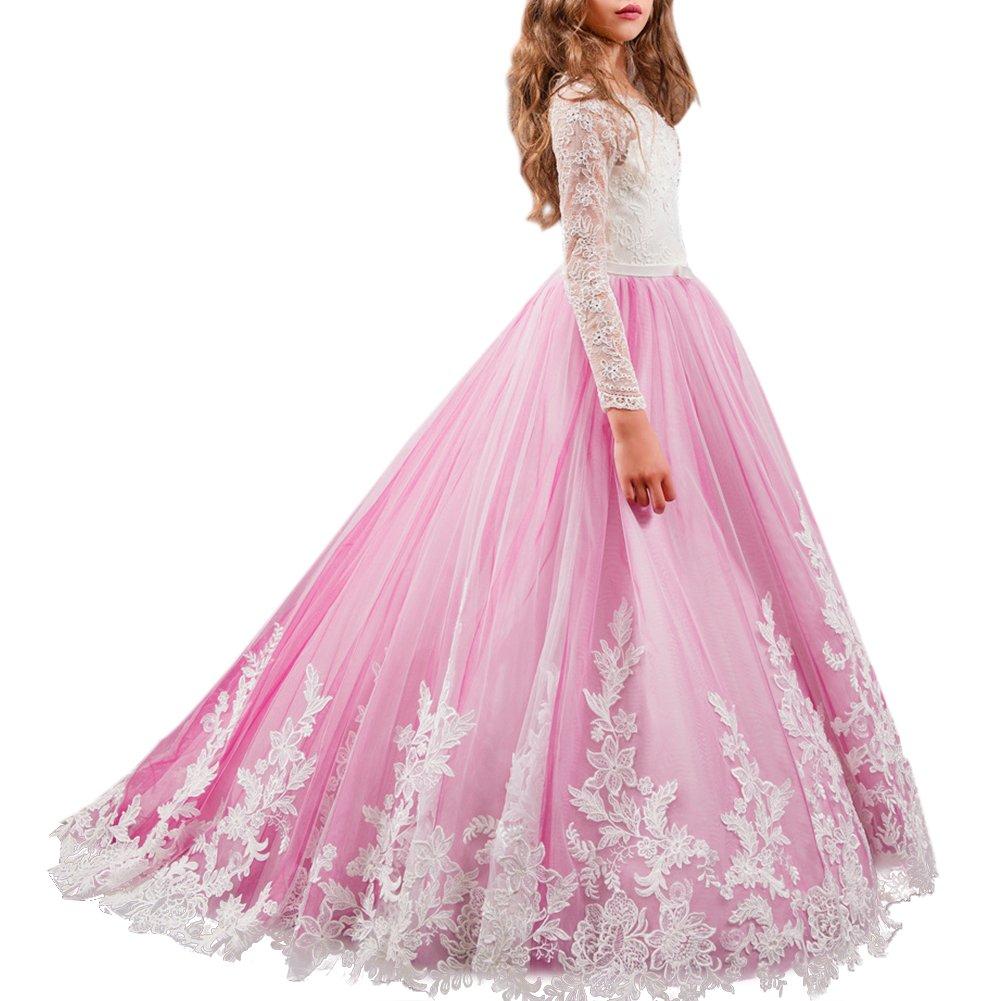 b4c7e7f8b IBTOM CASTLE Vestido de niña de flores para la boda Niños Largo Gala Encaje  De Ceremonia Fiesta Elegantes Comunión Paseo Baile Pageant Damas De Honor  Coctel ...