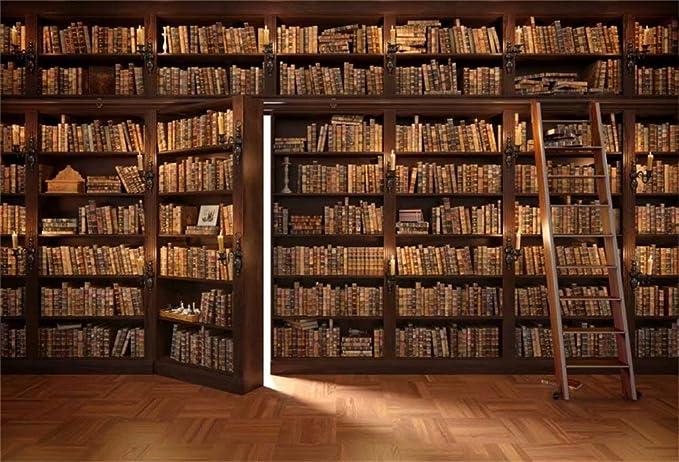 Leowefowa 1,5x1m Vinilo Telon de Fondo Biblioteca Estanterías de Fondo Libros Antiguos Universidad Fondos para Fotografia Party Photo Studio Props ...