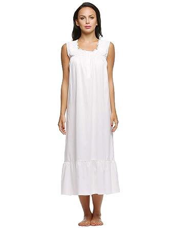 231547b4ff5 Ekouaer Womens Nightgown 100% Cotton Victorian Long Sleeveless Sleepwear at  Amazon Women s Clothing store