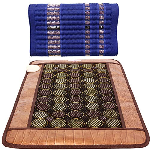 Great Heating pad GemsMat – Henri- Far Infrared 4 Amethyst, 25 Jade, 26 Tourmaline Bead Heat Stone Mat (32″L x 20″W) -Isabella Memory Foam Blue Pillow Combo- FIR Therapy -FDA Registered Manufacturer – Heating Pad 2019