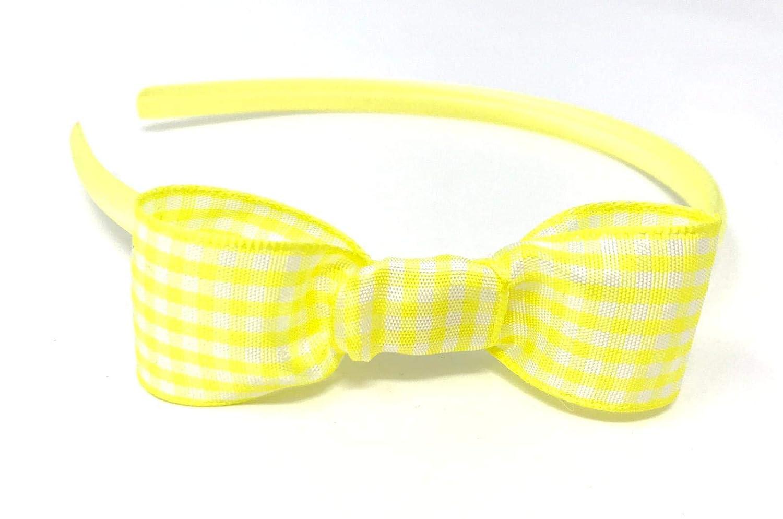 Yellow School Hair Scrunchies Hairband Bow Tie Elastic Band Gingham Uniform