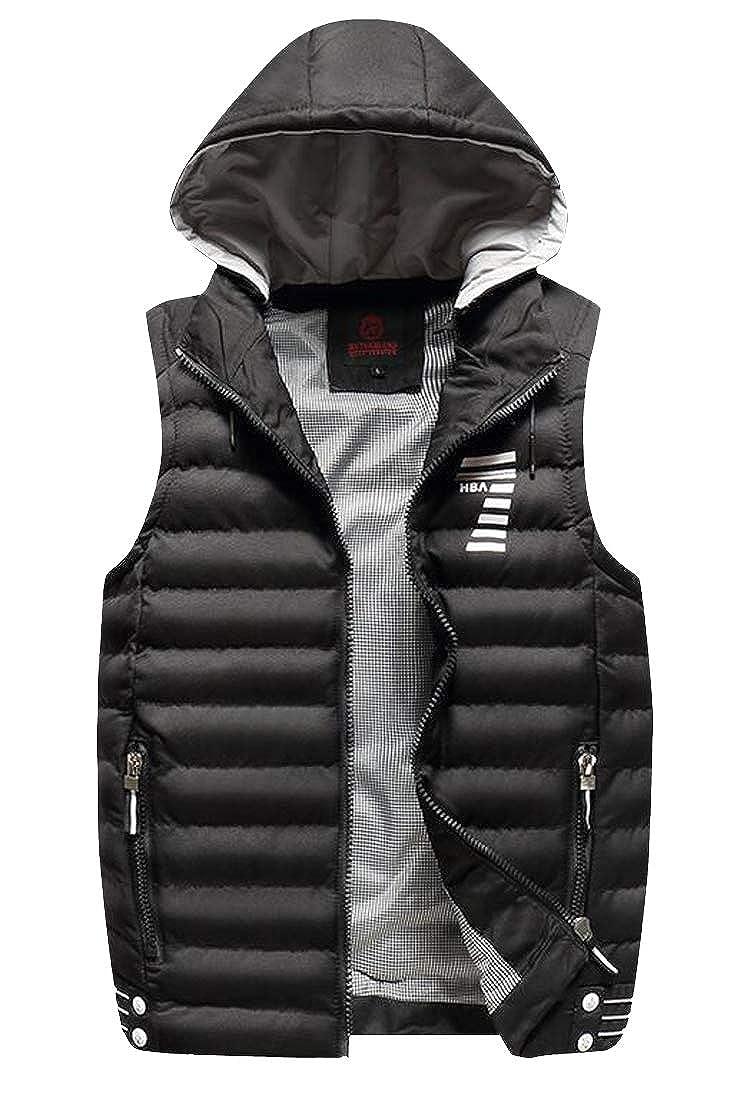 WAWAYA Men Full-Zip Winter Slim Thickened Hooded Down Coat Vest Waistcoat