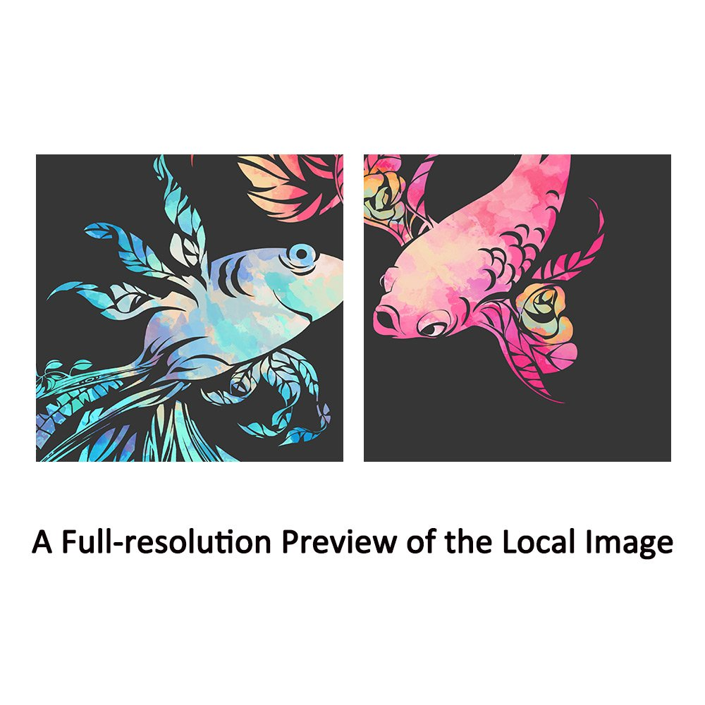 SUMGAR Pink and Blue Wall Art Couple Fish Pictures for Bathroom Flower Prints Fashion Home Decorations,12x16inch