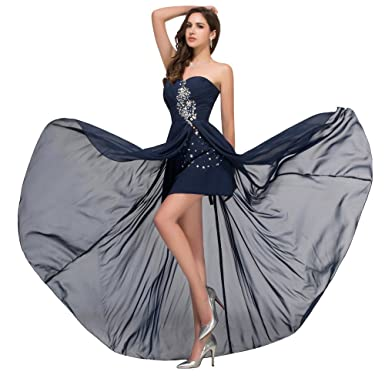 Fast Deliver Prom Dresses 2016 Sexy High Slit Beaded Sequin Chiffon Ombre Dress Cheap Long Navy