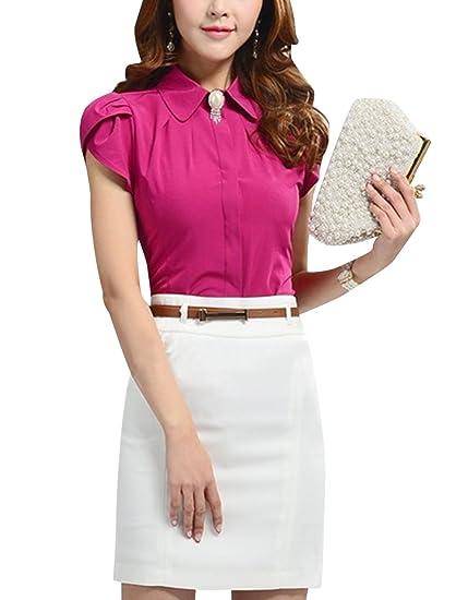 Lady Elegant Point Collar Button Closure Tulip Sleeves Shirt Fuchsia M