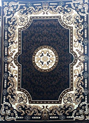 (Traditional Persian Area Rug Black Design D123 (8 Feet X 10 Feet ))