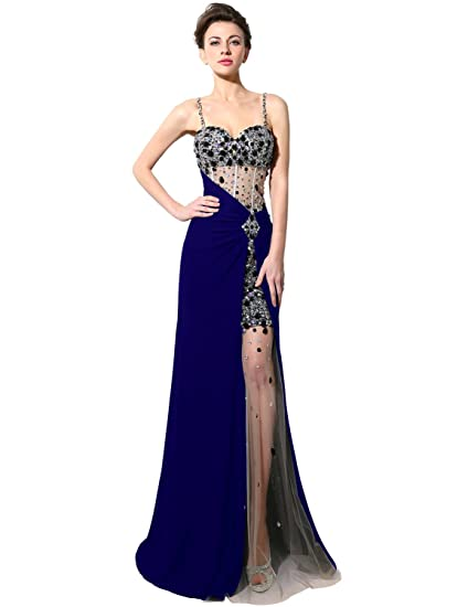 Sarahbridal Womens Sexy Spaghetti Strap Prom Dresses Crystal Beaded Evening Party Gowns See Through Ball Dress