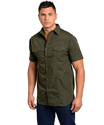 Men's Casual, Olive / Camouflage Short Sleeve Button Down, Cotton ...