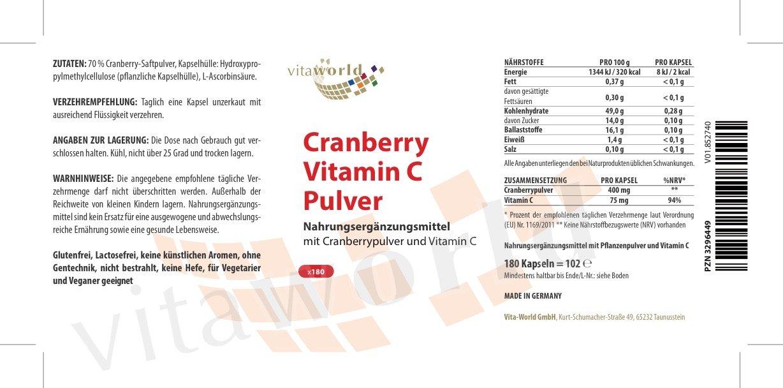 Arándano Rojo 400mg + Vitamina C 180 Cápsulas Vegetales - Vita World Farmacia Alemania: Amazon.es: Salud y cuidado personal