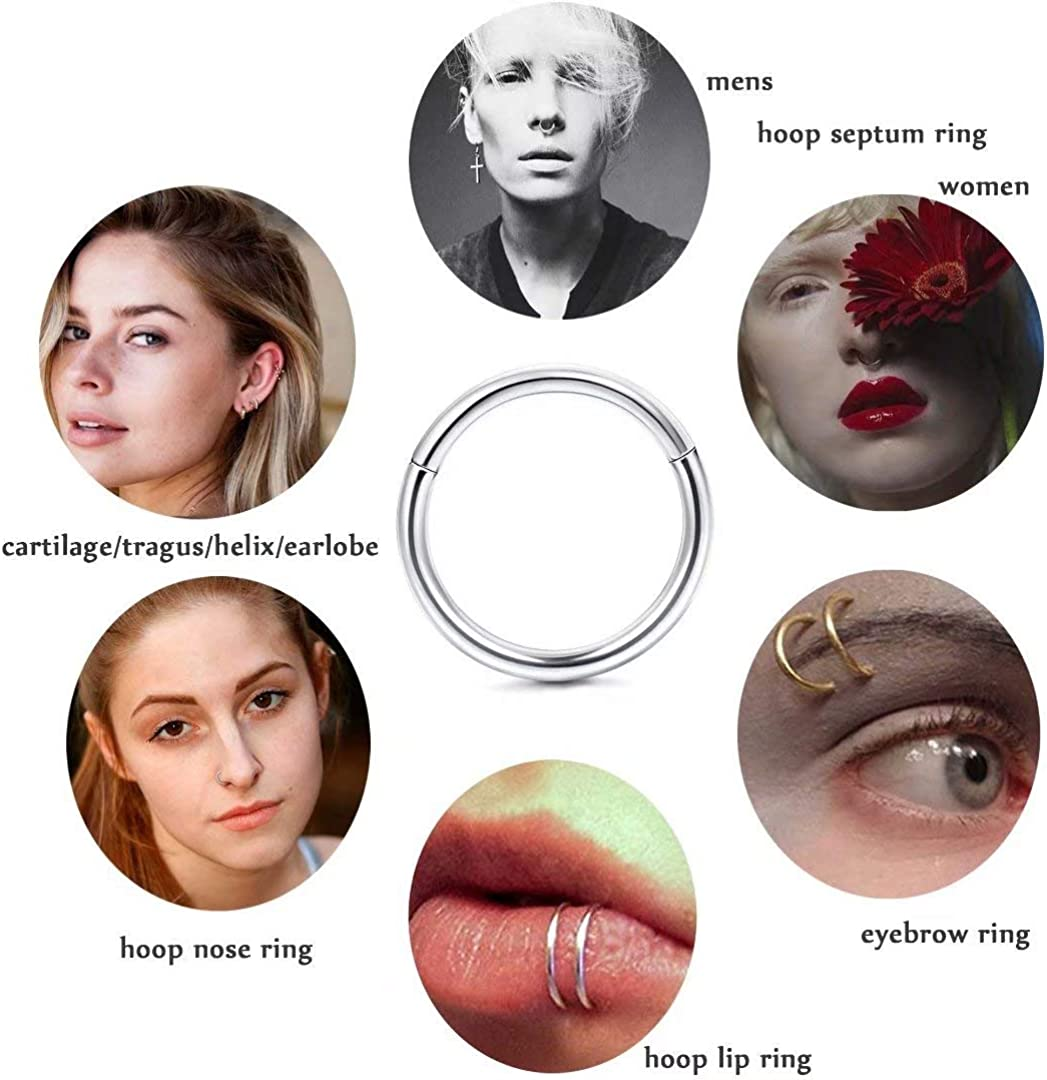 Diameter 6mm 9mm with Silver//Gold//Rose Gold Nose Piercing Jewelry Hoop for Women//Men with Retainer Ldurian 316L Surgical Stainless Steel Hypoallergenic Hinged Nose Ring Hoop 18//20 Gauge 7mm 8mm