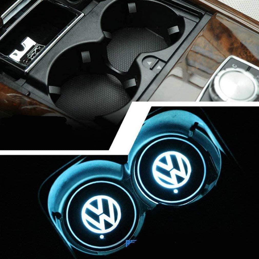 for Mustang LED Cup Holder Lights,FBA Fast Delivery USB Charging Pads 2 Pcs Luminous Coaster Indoor Atmosphere Lights Decorative Lights Car Logo Coaster Lights with Multiple Colors