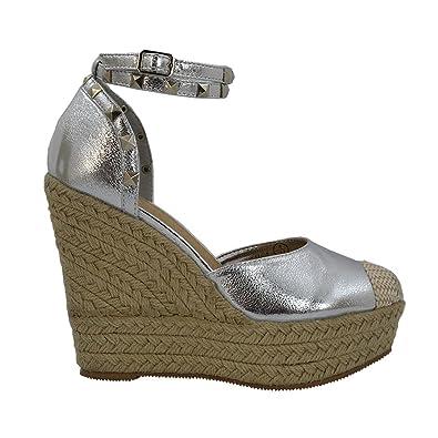 ESSEX GLAM Womens High Wedge Heel Platform Ankle Strap Silver Metallic Espadrille Sandals 5 B(