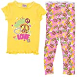 Yellow Peace and Love Pajamas for Girls