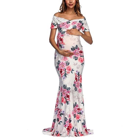Gusspower fotografía de Mujeres Embarazadas Vestidos Largos, Vestidos Hombro sin Tirantes Cuello v Estampado Floral