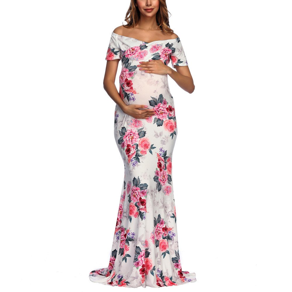 Sothread 2018 Maternity Sexy V Neck Off Shoulders Floral Boho Chic Dress Gown Pregnant for Photos (L, White)