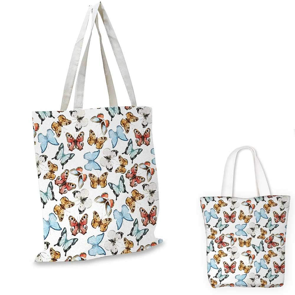 Butterfly canvas messenger bag Various Colorful Butterflies Watercolor Style Wild Nature Bohemian Decor Print canvas beach bag Multicolor 12x15-10