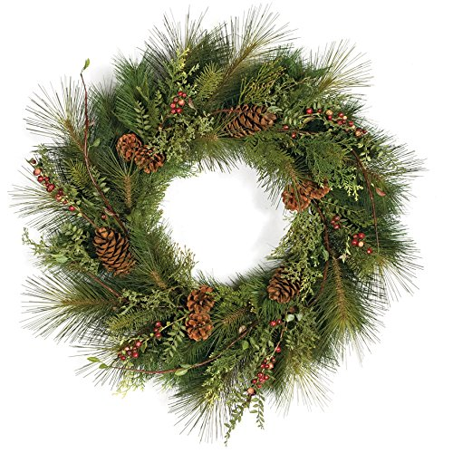 "SilksAreForever 30"" Artificial Sugar Pine, Crab Apple & Pinecone Hanging Wreath -Green"