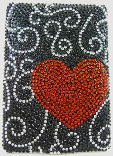 Black Sparkle Faceplate - Black Red Heart Diamante Kindle 6 Crystal Rhinestone Back Case