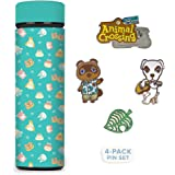 Controller Gear Animal Crossing Teal Icons Stainless Steel Water Bottle, & Lapel Pin Set [2 Pack] Animal Crossing Merchandise