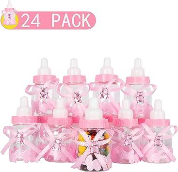 VCOM 24 Piezas Botella De Caramelo, Botella Botellas Cajas Dulces Porta Dulces Confeti Regalo para Nacimiento Bautizo Bautismo Cumpleaños Bebé Niña Decoraciones De Baby Shower -Rosa: Amazon.es: Juguetes y juegos