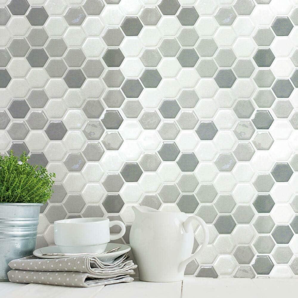 RoomMates TIL4278FLT Hexagon Peel and Stick Tile, gray, white