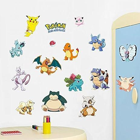 IPAI Techmac Pokémon Wall Stickers, Peel And Stick,  Pikachu/Charmander/Bulbasaur/