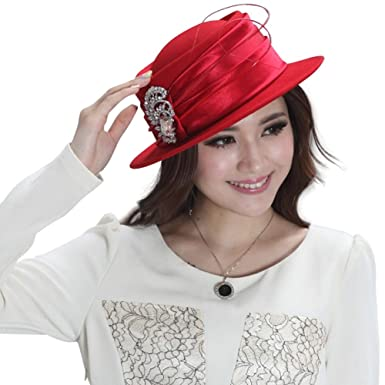 June s Young Women Hats Wool Felt Porkpie Hat For Women Winter at ... bea6ac24c0f6
