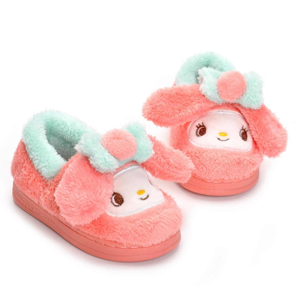 Toddler Girls Pink Bunny Slippers Cartoon Cute Rabbit Plush Warm Shoes with Fur