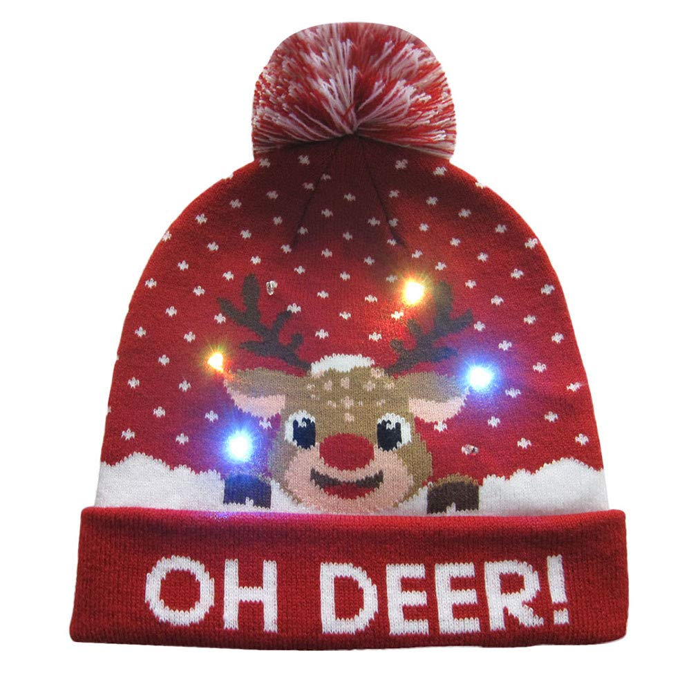 Cinhent Hat Women Mens LED Light-Up Ugly Sweater Holiday Xmas Christmas Beanie
