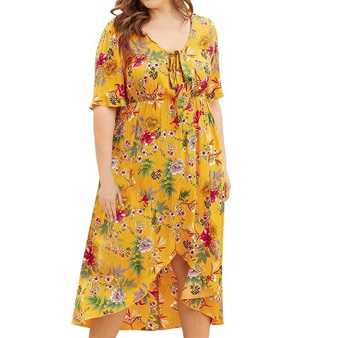 Amazon.com: Vestido Boho de manga corta para mujer, estilo ...
