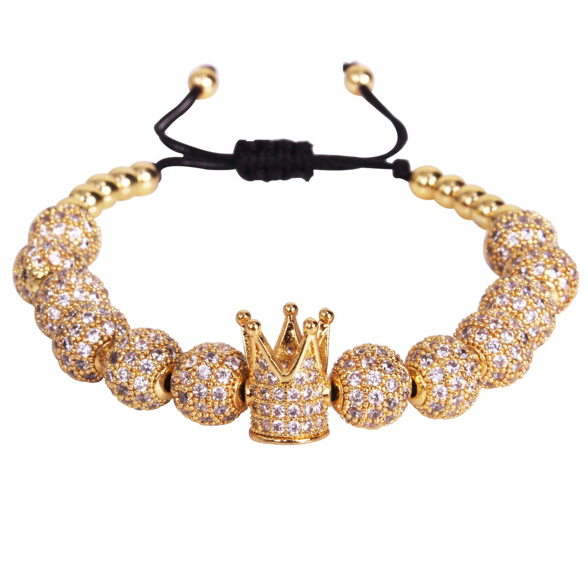 GVUSMIL 18kt Gold Plated Luxury CZ Imperial King Crown Copper Beads Charm Bracelets for Women Men