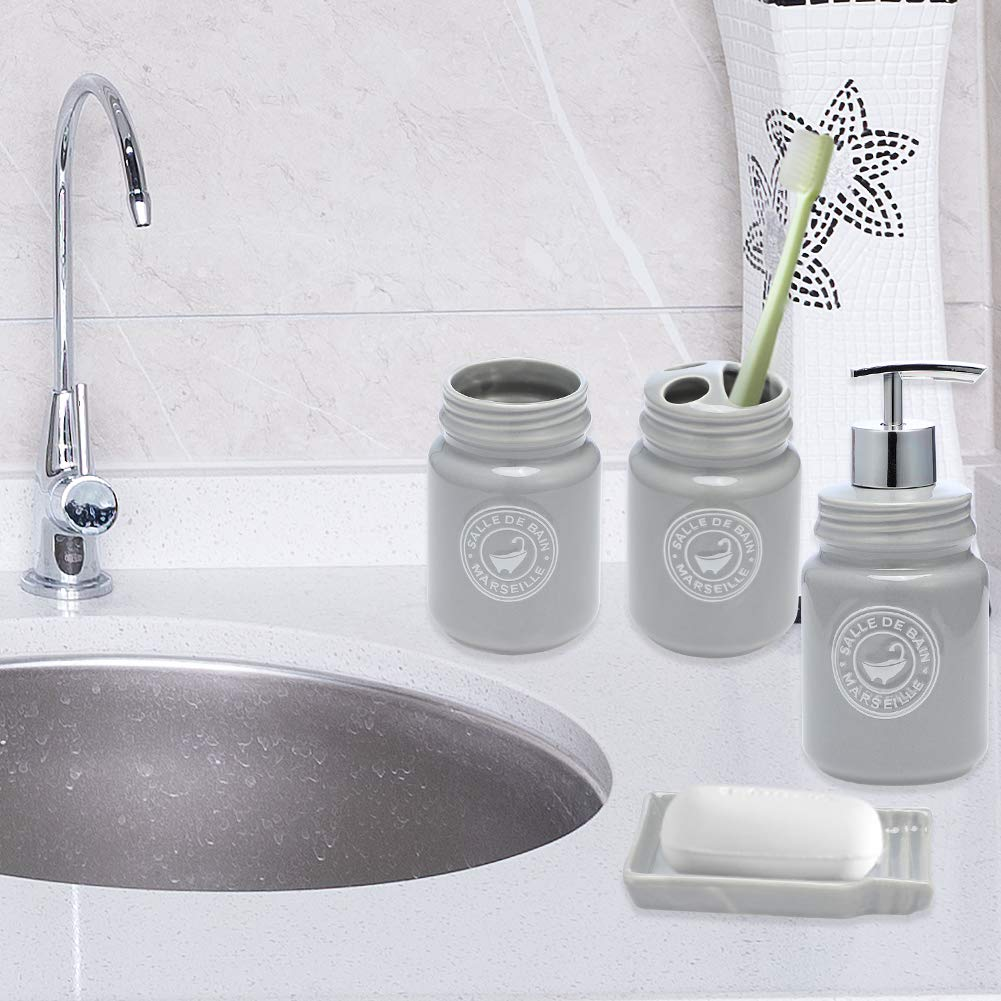 JOTOM Ceramic Bath Accessory Set Luxury Bathroom Accessories Set-4 Pieces with Decorative Hand Sanitizer Bottle,Toothbrush Cup,Toothbrush Holder,Soap Dish Pink