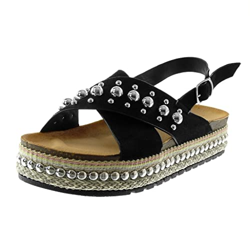 Nero 37 EU Angkorly Scarpe Moda Sandali con Cinturino Alla Caviglia Donna so9