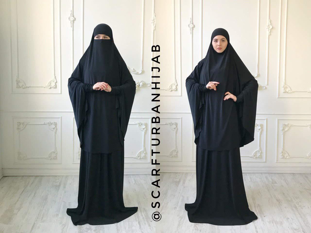 Amazon Com Transformer Black Khimar Niqab Transformer French Jilbab Black Burqa Traditional Hijab Ready To Wear Hijab Long Hijab Muslim Dress Handmade