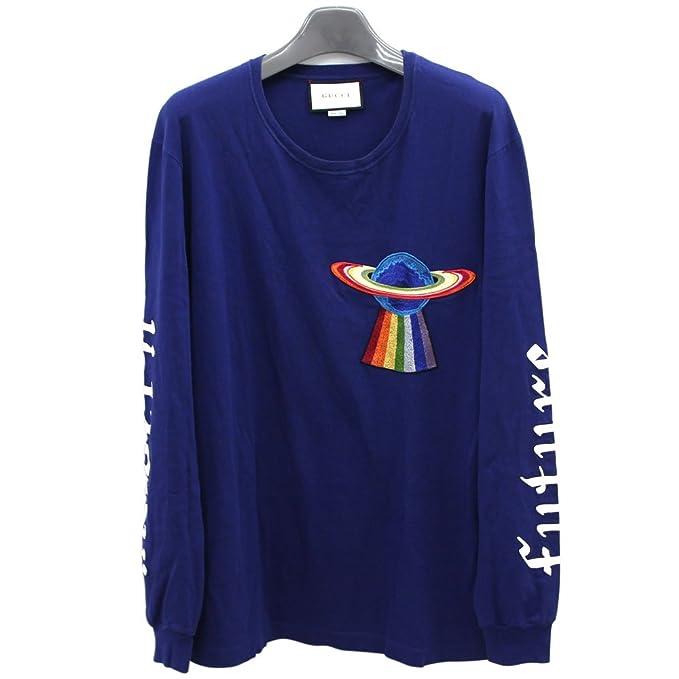 457239aae17b GUCCI(グッチ) トップス プラネット ロングTシャツ ブルー マルチカラー コットン 中古 長袖 モダン