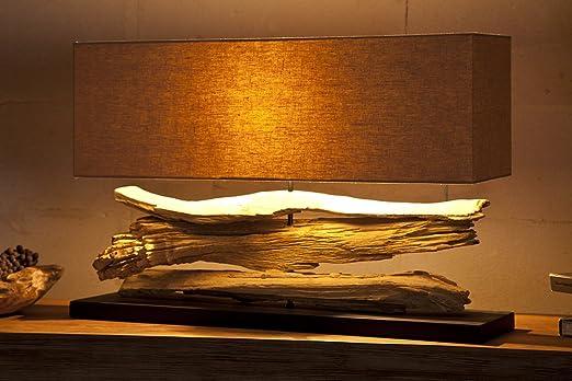 Große Design Lampe RIVERINE beige Treibholz Leuchte Handarbeit ...