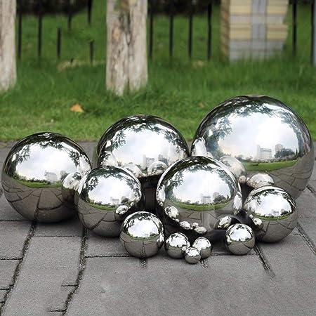 Yunhigh Mirando la Bola para el jardín, 12 cm Bola de observación pequeña Bola de Espejo del Mundo Bola Decorativa de Metal Bola de Oro de Acero Inoxidable para el jardín: Amazon.es: